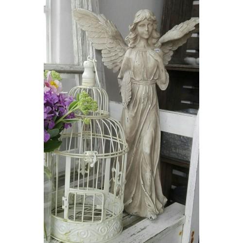 Stor patineret engel H: 52 cm.